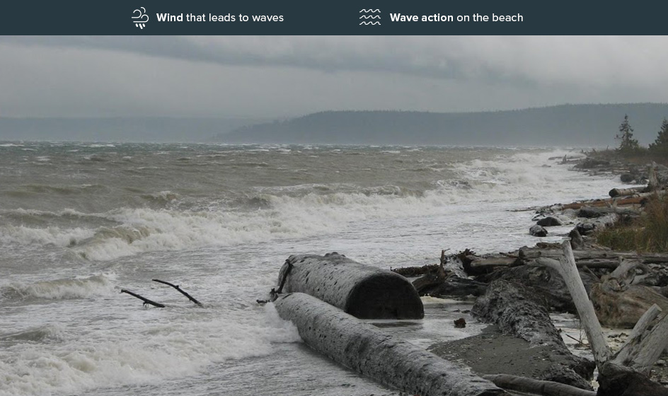 Beach showing high erosion risk