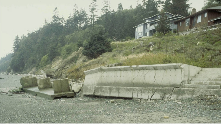 Concrete bulkhead on a beach